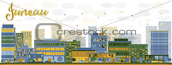 Abstract Juneau (Alaska) Skyline with Color Buildings