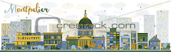 Abstract Montpelier (Vermont) city skyline with color buildings