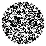 Kalocsai folk art embroidery - black Hungarian round floral folk pattern