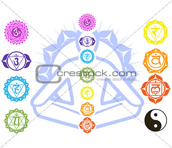 Chakras and spirituality symbols on man in lotus pose