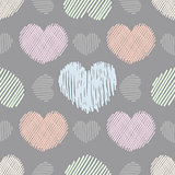 Doodle hearts seamless pattern