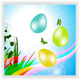 Easter panel with eggs and rainbow
