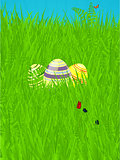 Easter spring background with decorated eggs