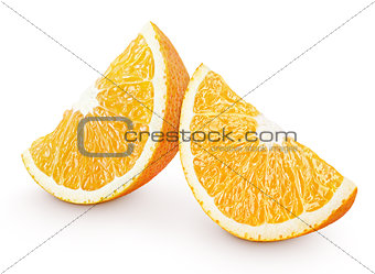 Slices of orange citrus fruit isolated on white
