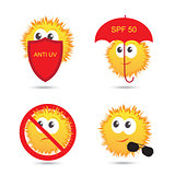 Set of UV Sun Protection and anti UV cartoon icons. Vector illustration isolated on white
