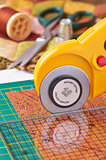 Rotary cutter cuts fabric