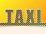 Checkered taxi text on orange background