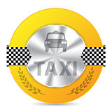 Metallic taxi badge design with checkered ribbons