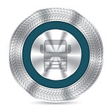Cool truck badge with debossed tire tracks