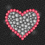 Heart Composed of Diamond Gem Stones