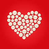 White Pearl Heart on Red Valentaine Day Background