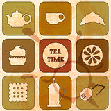 Icons Tea Time. Set of 9 icons. Grunge background