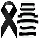 black mourning ribbon and banners