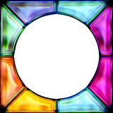 stained glass frame colorful round