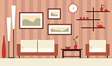 Vector color interior illustration of cartoon minimalistic moder