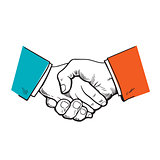 Symbol of cooperation, friendship, partnership, agreement, contract