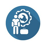 Service Man Icon. Flat Design.