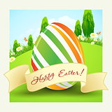 Easter Background with Decorated Egg