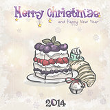 Holiday card for Christmas and the new year with a cake and a bell.