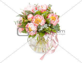 Amazing bouquet of pink pions isolated