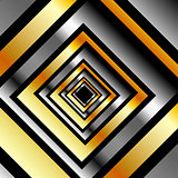 Gold and silver squares forming perspective