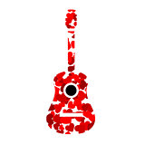 Guitar with red hearts