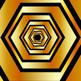 Golden hexagonal optical illusion