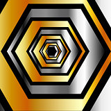Golden and silver hexagonal background