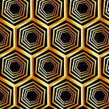 Golden hexagonal optical illusion