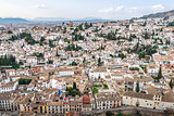 Albaicin is an old Muslim quarter of Granada seen from Alhambra Palace