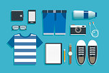 teenage travel accessories flat design