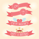 Vector Valentines day, Birthday pink ribbons
