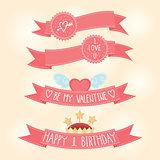 Vector Valentines day, Birthday pink ribbons