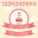 Vector Birthday pink ribbons