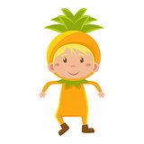 Kid In Pineapple Costume. Vector Illustration