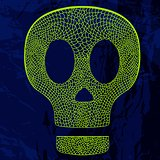 Vector decorative skull on grunge background.