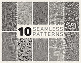 Set of Ten Vector Seamless Black and White Organic Rounded Jumble Maze Lines Patterns
