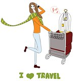 Young women with suitcases and bird cage. For t-shirts print, phone case, posters, bag print, cup print or notepad cover