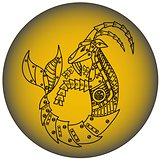 Capricorn in steampunk style. Horoscope sign. Steampunk animal.