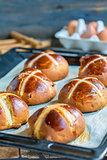 English Easter buns close-up.