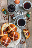 Coffee with English Easter buns. Breakfast.