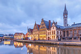 Quay Graslei in the evening, Ghent town, Belgium