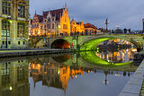 St Michael Bridge with green light, Ghent, Belgium