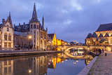 Quay Graslei in Ghent town in the evening, Belgium