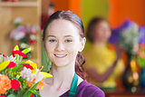 Pretty Young Flower Shop Worker