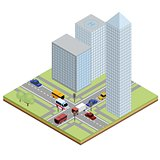 Isometric urban street with traffic