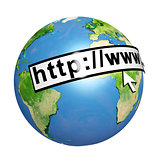 Planet Earth, web address and computer mouse cursor