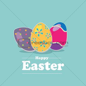 Flat illustration of three easter eggs