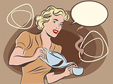 The waitress pours tea pastel retro colors