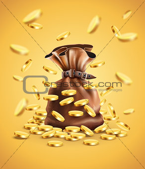 Gold coins falling down and full sack